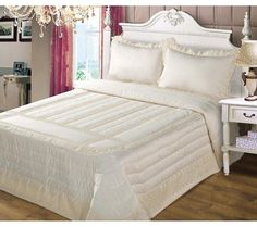 Anita Cream Lace and Satin bedspread Cushion Covers, Duvet Covers, Luxury Bedspreads, Lavender Bags, Silk Taffeta, Cushions, Pillows, Tissue Box Covers, Seat Pads