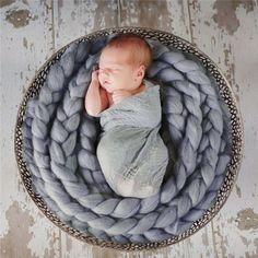 Новорожденный Фотографии Реквизит Корзина 2016 Мода Детское Шерстяное Одеяло…