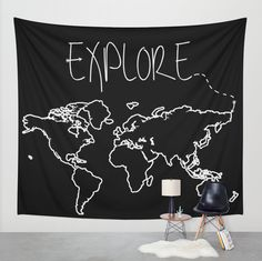 Click photo to buy this Explore Wall Tapestry on Etsy! Also available as a Throw Pillow, Mug, Poster, Print, Tee, Tote Bag, and more! Adventure. Clothing. Wander. Wanderlust. Travel. USA. Earth. Gifts for her. Gifts for him. Dorm Room Decor. Arrows. Black and White. Wall Art. Europe. Australia. Canada. North America. South America. Asia.