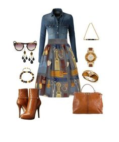 A fashion look from September 2015 featuring denim top, below the knee skirts and platform bootie. Browse and shop related looks. Diva Fashion, Look Fashion, Autumn Fashion, Womens Fashion, Fashion Tips, Classy Outfits, Stylish Outfits, Fall Outfits, Casual Chic