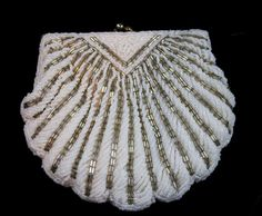 Vintage Antique Beaded Shell Purse. White & by TactfulTreasures