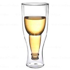 [EUR € 10.39]  - Upside Down Copa garrafa de cerveja de vidro Estilo de paredes duplas