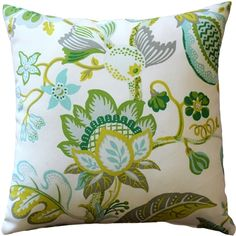 This fresh and colorful indoor-outdoor throw pillow features stylized flowers and leaves in greens, gray, yellow, lime and blue. This crisp, floral pattern, patio pillow, pairs perfectly with the Sunbrella Macaw Green outdoor pillow.