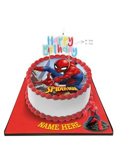 Spiderman Cake with Happy Birthday Candle &Topper Avengers Birthday Cakes, Superhero Birthday Cake, Barbie Birthday Cake, Novelty Birthday Cakes, Happy Birthday Wishes Cake, Happy Birthday Candles, Spiderman Cake Topper, Spider Cake, Spiderman Pasta