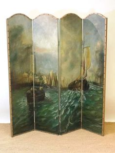 Four fold screen with mural sides coming out from the wall