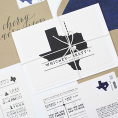 Texas inspired navy and white wedding stationery with kraft envelope