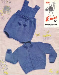 Vintage PDF Baby Knitting Pattern - Emu 8076 - cardigan romper Instant Download