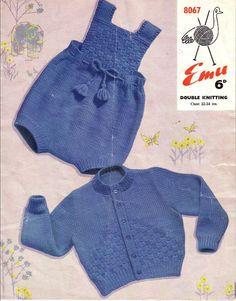 Vintage PDF Baby Knitting Pattern - Emu 8076 - cardigan romper Instant Download