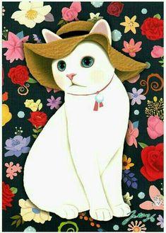Lindos Gatos Amor de tela repelente al agua blanca rosa Craft Poliéster 50 X 49