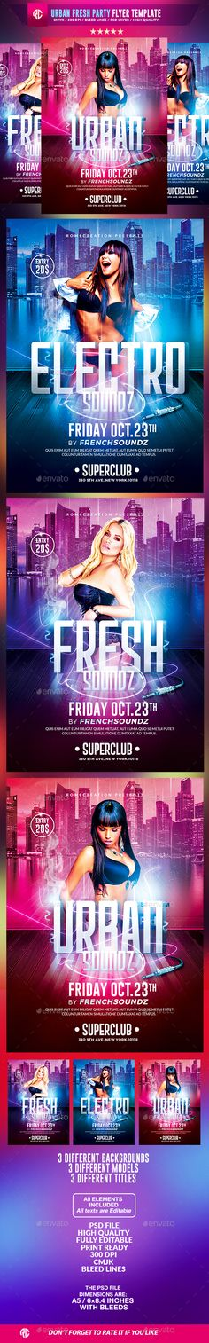 Urban Fresh Party | Psd Flyer Template - Clubs & Parties Events
