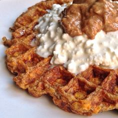 Ripped Recipes - Sweet Potato Waffle - Flour-Less Waffle topped with Cottage Cheese  Nut Butter