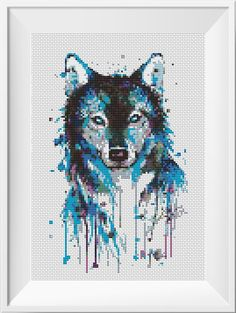 Watercolor Cross Stitch Pattern Wolf Animal Husky par NikkiPattern