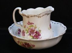 Floral Pitcher & Bowl Set