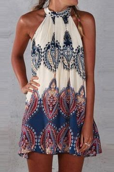 Appealing Printed Sleeveless Halter Mini Dress - OASAP.com