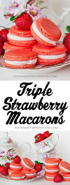 What can make a macaron better? A triple strawberry macaron! Baking Recipes, Cookie Recipes, Dessert Recipes, Oven Recipes, Easy Recipes, Just Desserts, Delicious Desserts, Yummy Food, Yummy Treats
