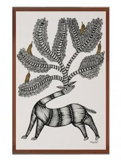 Multi-Color Framed Gond Wall Art 14in x 11in