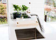Alessi Sense by Oras, kitchen faucet with a dishwasher valve. Alessi, Nordic Design, Oras, Faucet, Dishwasher, Interior Design, Bathroom, Kitchen, Home Decor