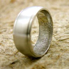 His ring, her fingerprint on the inside.