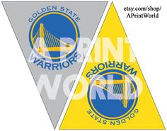 Golden State Warriors printable flags. Easy Party decorations for Warriors fans and #dubnation . Immediate download for decor and decoration