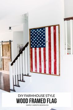 This darling DIY Wood Framed Flag is full of farmhouse style, and is perfect for all patriotic holidays, summer, and the whole year!
