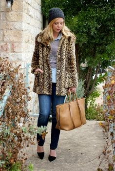 Leopard coat & stripes. Winter outfit idea.