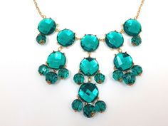 Macy's Gold Tone/Faceted Green Crystal New! #Macys #Statement