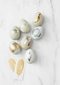 Another fun tattoo idea: We instantly took a shine to eggs rocking metallic flash tats. GH TIP: Shop your local specialty market for heirloom eggs like we used here. They come in sweet shades from pastel blues to pink.Tattoos, flashtats.com
