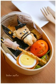 For you, Boo! Kawaii Bento, Cute Food, Good Food, Yummy Food, Bento Kids, Bento Lunchbox, Japanese Food Art, Food Porn, Boite A Lunch