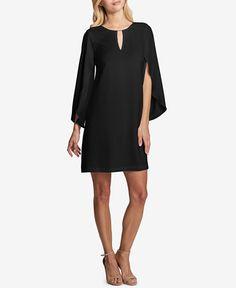 kensie Flutter-Sleeve Crepe Georgette Dress
