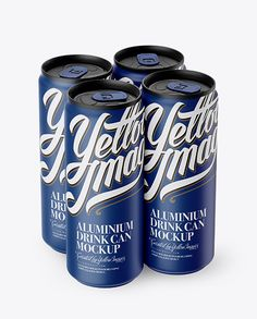 4 Matte Aluminium Cans Mockup - Half Side View (High Angle Shot)