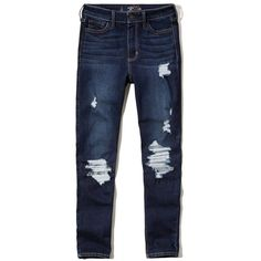 Hollister High Rise Crop Jeans ($30) ❤ liked on Polyvore featuring jeans, destroyed dark wash, blue high waisted jeans, distressed jeans, distressed cropped jeans, high waisted jeans and high waisted ripped jeans