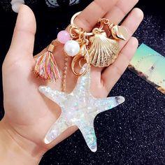 Fancy&Fantasy Hot New Cartoon Sea World Starfish Pearl Shell Keychain Key Chain KeyRing Crystal Pendant Keychain Women Gift Key Keychain, Cute Keychain, Tassel Keychain, Keychains, Car Accessories For Women, Jewelry Accessories, Jewelry Sets, Key Chain Rings, Sea World