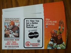 1984 CLEVELAND BROWNS NFL SEASON SCHEDULES - LOT OF 20 - UNFOLDED