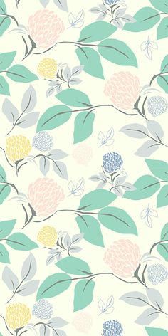 Seamless floral pattern with delicate flora. Owsla Wallpaper, Pastel Wallpaper, Aesthetic Iphone Wallpaper, Flower Wallpaper, Aesthetic Wallpapers, Wallpaper Backgrounds, Floral Pattern Wallpaper, Pretty Wallpapers, Pattern Illustration