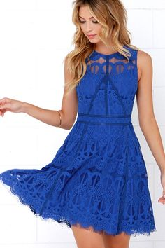 Darling is on the rise when it comes to the On the Up and Up Cobalt Blue Lace Dress! Bright eyelash lace shapes a sheer decolletage with a sweetheart neckline lining beneath. Banded waist leads into a fun, full skirt with grosgrain ribbon detailing and a scalloped hem. Hidden back zipper with clasp.