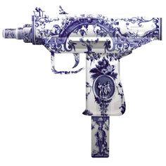 Machine gun. In always classic, go with everything Delft.  #Delft #Machine_Gun #Gun