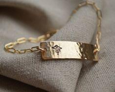 Gold Two Sided Medical ID Bracelet - Customize - Hand Stamped - Epilepsy - Diabetes on Etsy, $50.00
