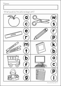 Back to School Math & Literacy Worksheets and Activities No Prep Beginning Sounds Worksheets, English Worksheets For Kindergarten, Free Kindergarten Worksheets, Phonics Worksheets, Preschool Learning Activities, Homeschool Kindergarten, Homeschooling, Teaching Phonics, Math Literacy