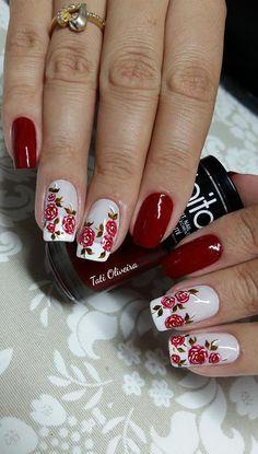 60 Unhas com Desenhos de Rosas feitos à mão Pretty Nail Art, Cute Nail Art, Cute Nails, Hair And Nails, My Nails, Nail Art Printer, Nail Envy, Flower Nails, Cool Nail Designs