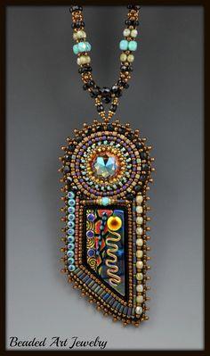 Bead Embroidered Beadwoven Beadwork Dichroic by beadedartjewelry, $278.00