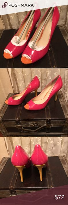 Enzo Angiolini heels Gorgeous Enzo Angiolini heels,  three colors pink, orange, yellow size 7-1/2, only wore them once just cant wear them from my back issues, they are just stunning. Enzo Angiolini Shoes Heels