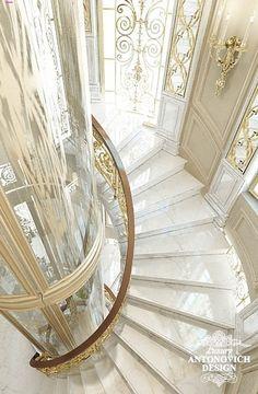 Дизайн лестницы в частном особняке Mansion Interior, Luxury Homes Interior, Luxury Decor, Staircase Design Modern, Luxury Staircase, Classic House Design, Dream Home Design, Elevator Design, Luxury Homes Dream Houses