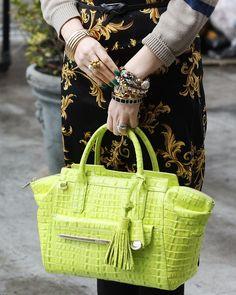 the lovely jaimen with her #brahmin tucker satchel bag in chartreuse