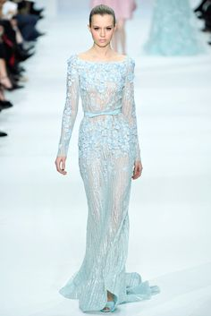 Pale blue boatneck Elie Saab Dress was Decorated with Romantic Embellishments. The Column Gown was Gorgeous
