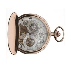 Jean Pierre Of Switzerland Rose Gold Plated Double Hunter Skeleton Mechanical Pocket Watch. Now available at www.pocketwatch.co.uk #pocketwatch #timepiece