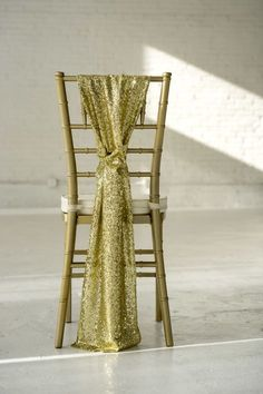 """Mrs. Freund & Co. GLITZ Sequin Chair Sashes These gorgeous sashes are perfect for head tables, sweetheart tables, or the back row at your ceremony. A great addition if you are using any of our other GLITZ products - so everything ties together! 9"""" x 90"""" sash.  First photo shows our actual product in LIGHT GOLD (photo by T"""