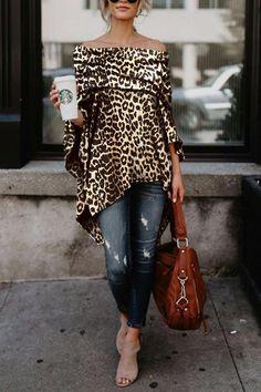 d3a2a856db5c01 Off Shoulder Leopard Printed Asymmetric T-Shirts