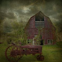 Wisconsin Barn, old tractor, cloudy skies...