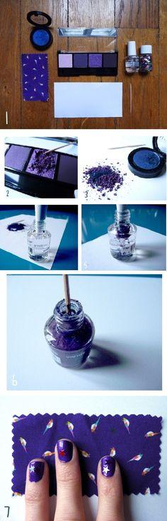 DIY eyeshadow nail polish