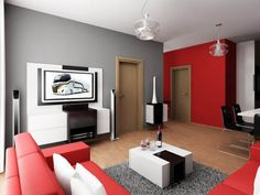 Living Room Designs. The Beautiful Design Of Red And Black Living Room Decor: Cool Picture Black And Red Living Room Decoration Ideas Good Large Tv Timber Floor Varnished Good White Black Square Table ~ Fmihc